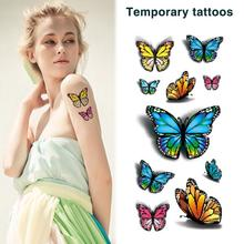3D Colorful Butterfly Body Art Temporary Tattoos Waterproof Sticker 5 Sheets