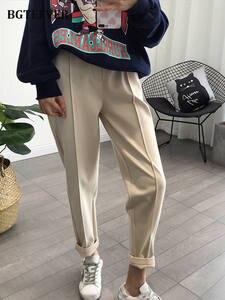 Loose Trousers Pencil-Pants Capris Good-Fabric Thicken BGTEEVER Autumn Female High-Waist