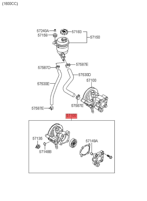 Автомобильный масляный насос гидроусилителя руля 2009-Hyu nda iEl ant raH D08 I30 101.6L 2.0L1.6L MT GLS 1.6L MT GL, Насос гидроусилителя руля