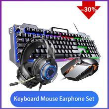 MechanicalKeyboard Set Gaming Keyboard And Mouse Wired Backlight Mechanical Feeling Keyboard Gamer Kit Silent 3200DPI Gaming