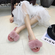 Winter indoor slippers warm and comfortable plush pantoffels dames winter claquette fourrure furry 36-41