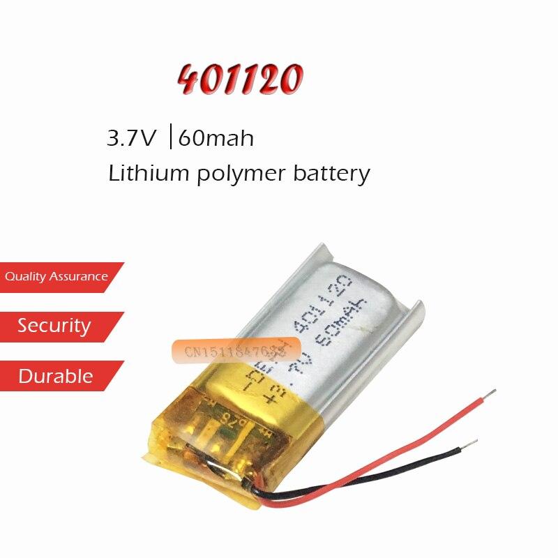 1PC 3.7V 60mAh akumulator litowo-jonowy 401120 akumulator litowo-polimerowy do MP3 MP4 zestaw słuchawkowy bluetooth LED lekki aparat słuchowy