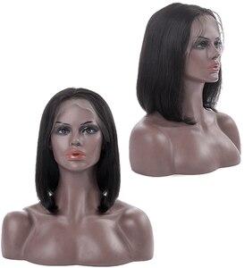 Image 2 - עלי מלכת שיער 13x 4/13x6 תחרה מול פאות 180% צפיפות בלונדינית/ורוד ברזילאי ישר רמי שיער טבעי שחור קצר בוב פאות