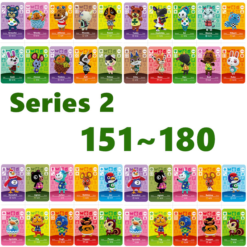 Animal Crossing Card Nfc Amiibo Card Work For NS Games Series 2 For Nintend Switch And Switch Lite (151 To 180)