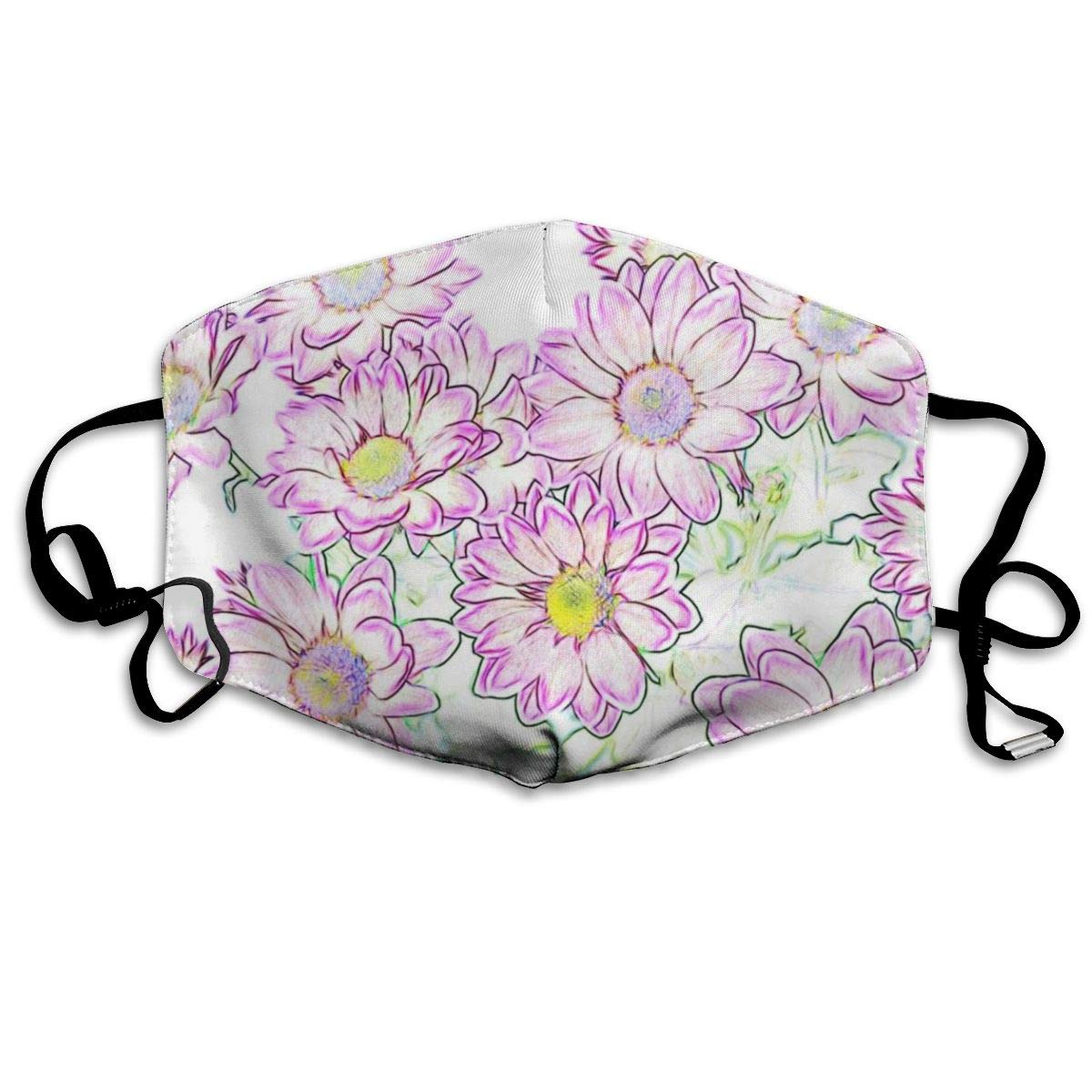 Mouth Mask Pink Hand Painted Flower Print Masks - Breathable Adjustable Windproof Mouth-Muffle, Camping Running For Women And