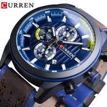 CURREN Blue Sport Watch Mens Calendar Quartz Wristwatches For Man Clock Male Genuine Leather Hours Waterproof Relogio Masculino
