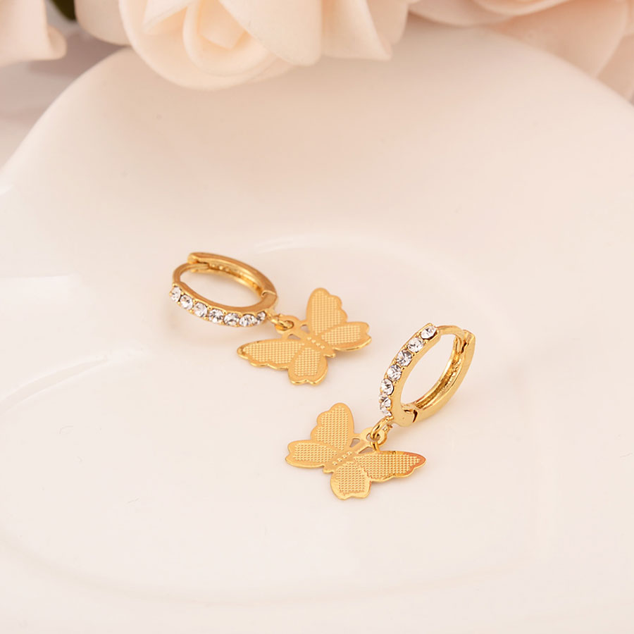 Women Drop Dangle Earring 22K 23K 24K Thai Baht Fashion FINE  Gold GF CZ  Charms Jewelry Butterfly Vintage