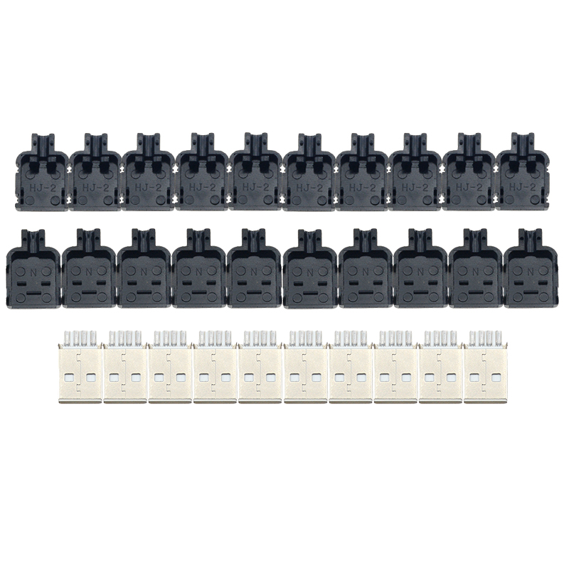<font><b>10Pcs</b></font> DIY <font><b>USB</b></font> 2.0 <font><b>Connector</b></font> Plug <font><b>A</b></font> Type Male 4 Pin Assembly Adapter Socket Solder Type Black Plastic Shell For Data Connection image
