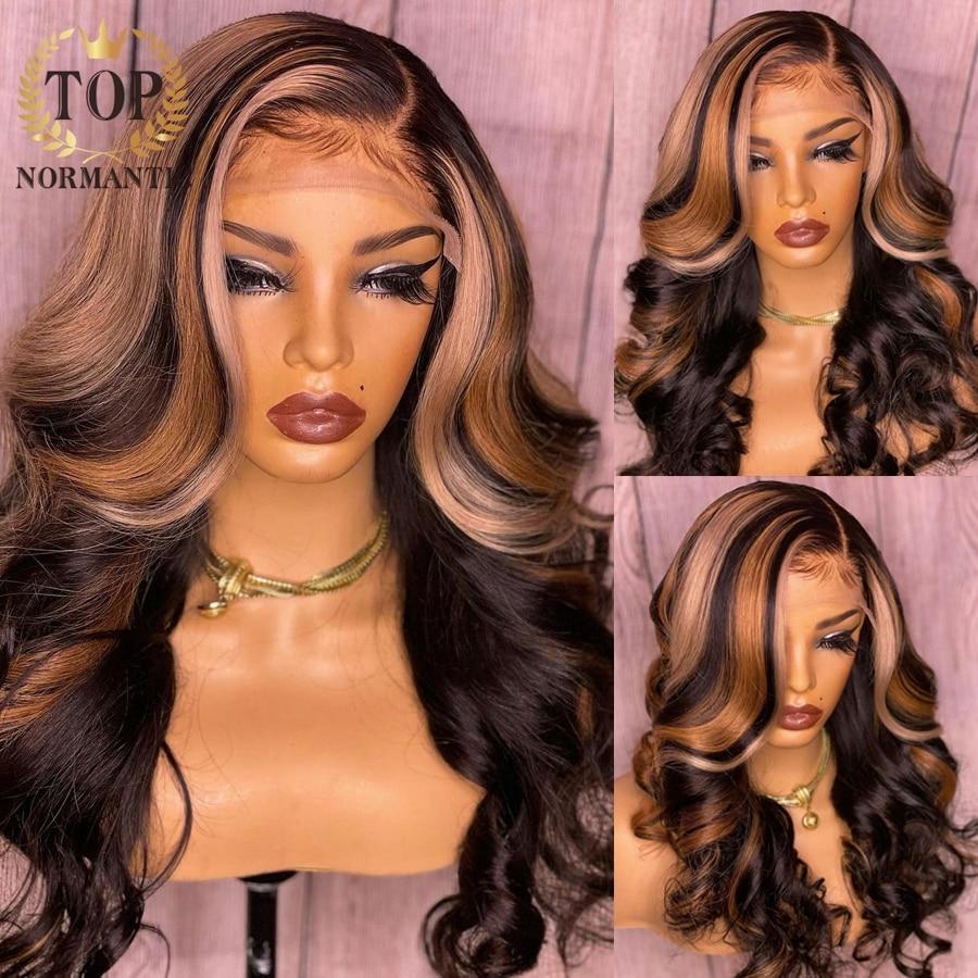 Topnormantic brasileiro remy perucas da parte dianteira do laço do cabelo humano destaque cor onda do corpo perucas da parte dianteira do laço com pré arrancado linha fina