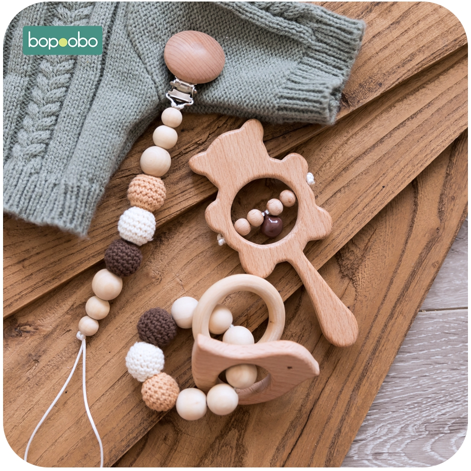 Bopoobo Baby Teether Food Grade Beads Wooden Baby Pacifier DIY Rattle Soother Bracelet Bear Rattle Teether Music Baby Product