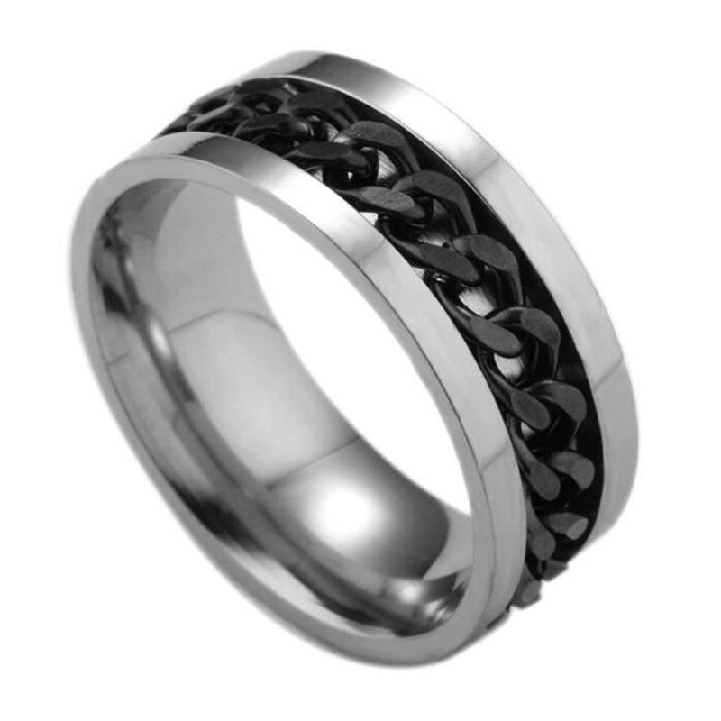 Панк 8 мм прядильная цепь для мужчин вращающееся кольцо черный синий нержавеющая сталь вращающееся крутое ювелирное изделие вечерние подар...