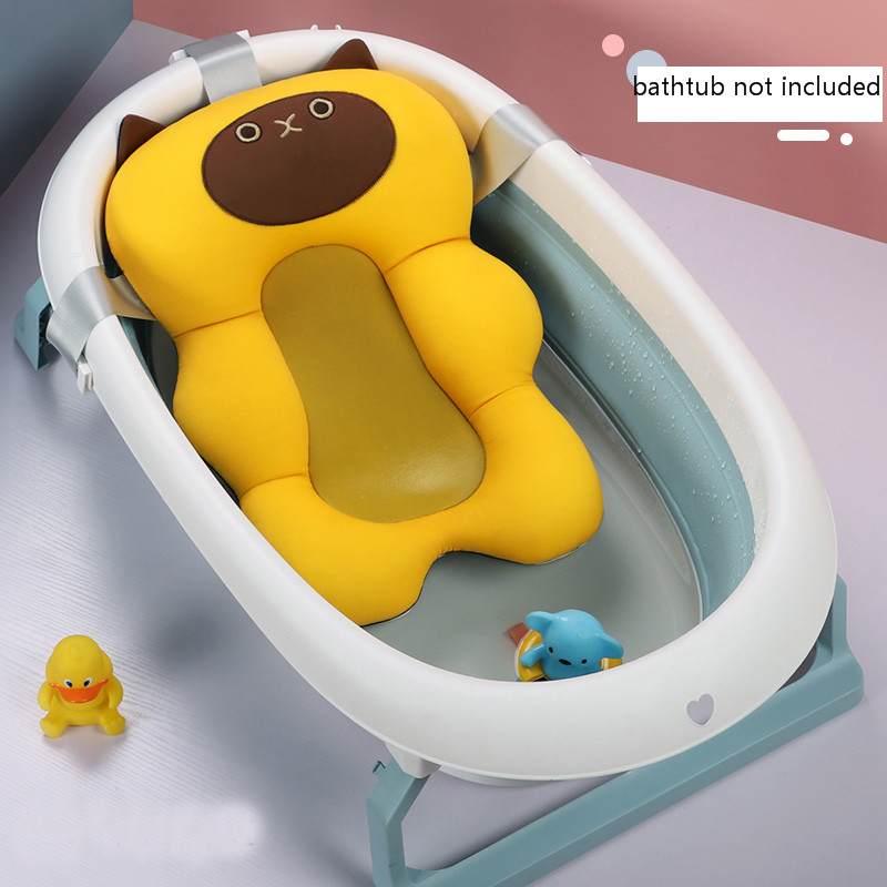 Cartoon Portable Baby Non-Slip Bath Tub Shower Bathtub Mat Newborn Safety Security Bath Air Cushion Foldable Soft Pillow Seat