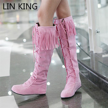 LIN KING Vintage Tassel Women Long Boots Round Toe Flats Motorcycle Shoes Fashion Woman Lace Up Knee High Boots Plus Size 34-43