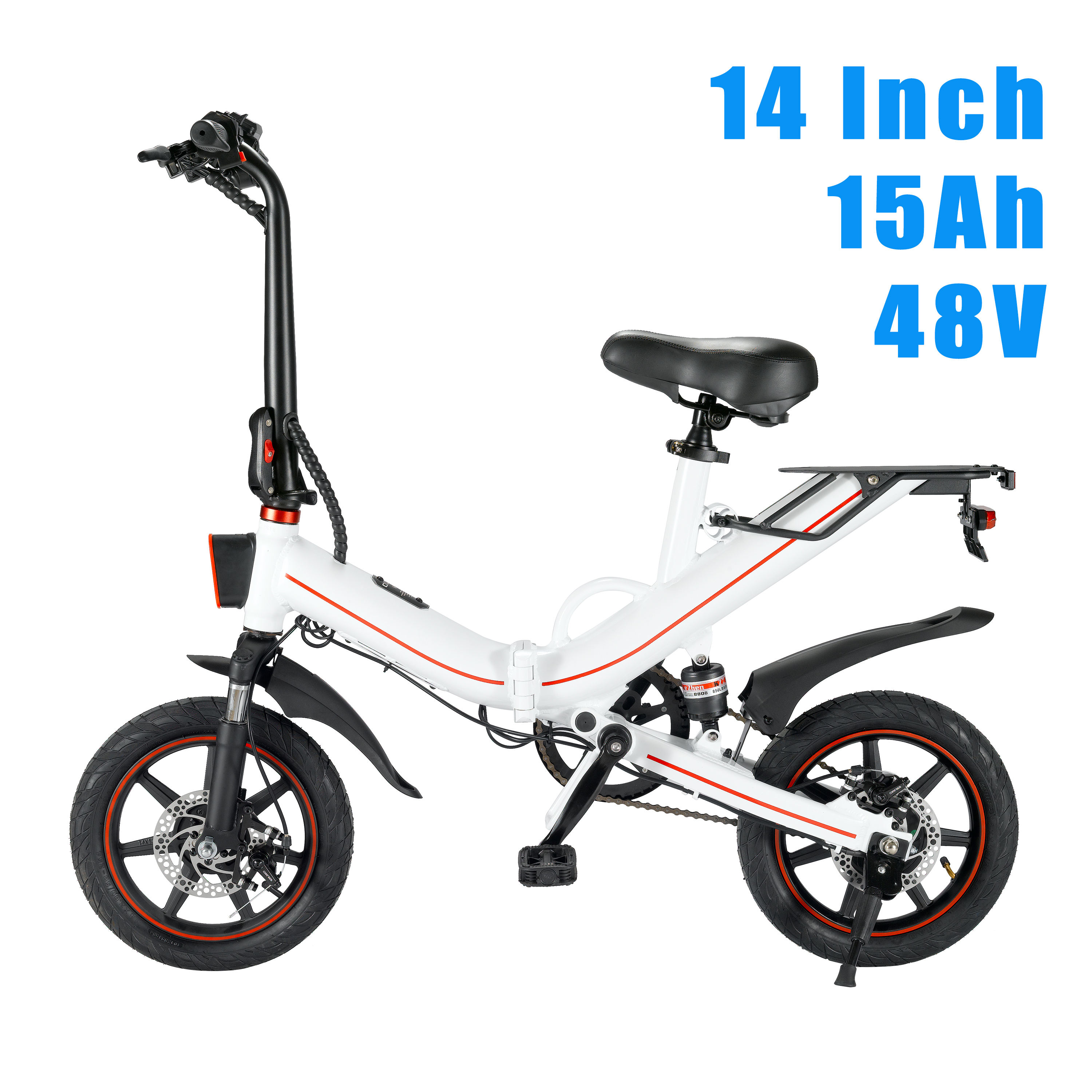 EUR Stock No Tax 400W Folding14inch Tire 2 Wheel Electric Bike 48V 15ah Removable BT Beach Cruise Booster Electric Bicycle