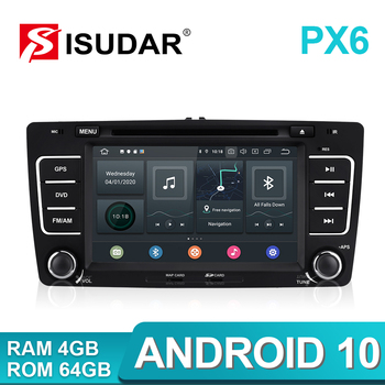 Isudar PX6 2 Din Android 10 Auto Radio For SKODA/Yeti/Octavia 2009 2010 2012 Hexa Core RAM 4G Car Multimedia DVD Player GPS DVR