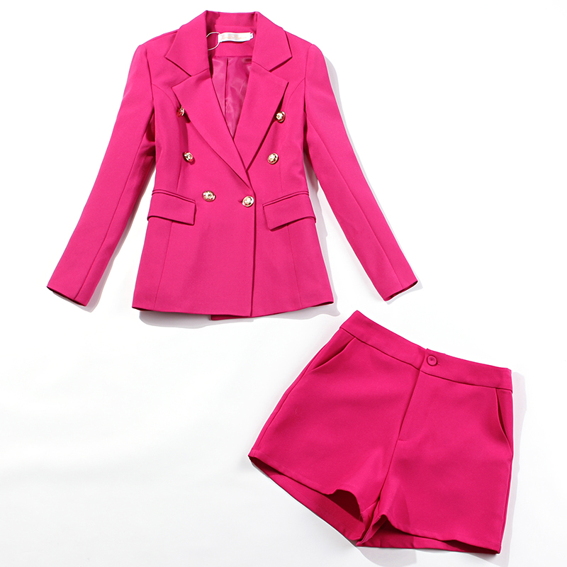 Autumn Ladies Office Suits Pants Suit Temperament Slim Double Breasted Rose Red Jacket Suit Female Casual Shorts Two-piece Sets