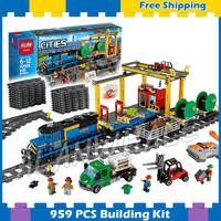 959pcs City Motorized Remote Control Cargo Train Hobby 02008 Model Building Block Toy Brick Power Functions Compatible With Lego