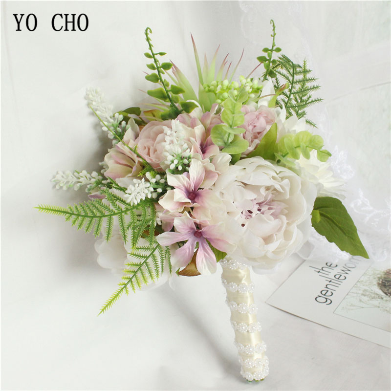 YO CHO Artificial Flower Rose Bouquet Bridal Wedding Bouquet Flower Silk Dahlia Bridesmaids Wedding Bouquets Handmade Flowers