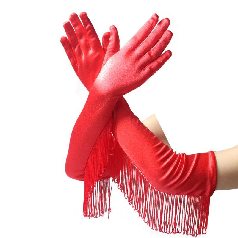 Women Long Gloves Party Latin Dance Ceremonial Sexy Tassel Satin Glove Y1AC