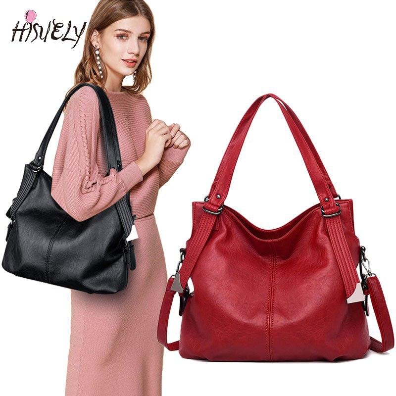 Yonder nouvelle mode femmes sacs à main en cuir femme en cuir véritable épaule sac à bandoulière dames grand seau fourre-tout sac noir/rouge