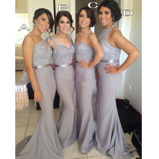 2015 Long Grey Bridesmaid Dresses Special Shiny Appliques Sash Party Dress Beading High Quality Elegant Mermaid Bridesmaid Gown