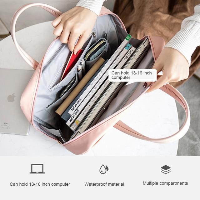 Saco do computador portátil bolsa de negócios organizador de documentos ipad tote senhoras bolsa mensageiro alça bolsa acessórios 5