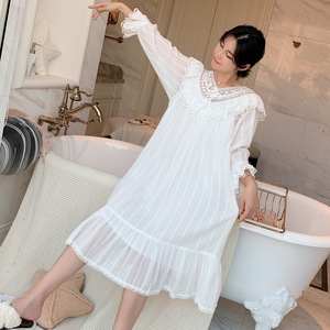 Image 5 - Autumn New Embroidery Lace Princess Nightgown Long Sleeve Woven Cotton Sleepwear