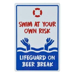 DL-Zwembad Sign-Geen Badmeester Op Duty Zwemmen op Eigen Risico Teken 12x10 Rood, blauw op Wit Roest Gratis metalen Bord