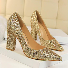Women Pumps Sequins Women High Heels Shoes Pointed Toe Classic Pumps Gold Silver Women Heels Female Shoes bigtree new wedding shoes high heels gold silver women pumps 2018 special sequins stable thick heel pointed toe female size34 39