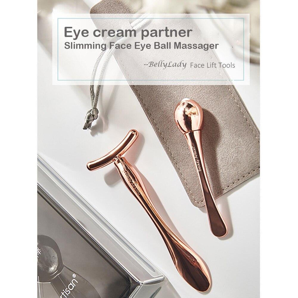 Massageador de rolo face-lift 2 pçs anti-envelhecimento pele lift massager olho bola massageador + t-tipo rosto massageador instrumento ferramenta de beleza
