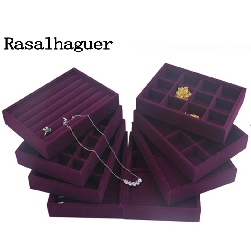 Handmade Diy Jewelry Box Drawer Storage Organizer Purple Soft Velvet Jewellery Earring Necklace Pendant Bracelet Tray 9 Options Jewelry Packaging Display Aliexpress
