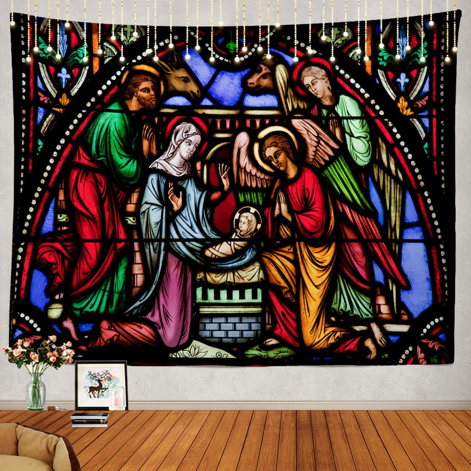 Christmas Stained Glass Angel Custom Psychedelic Tapestry Decorations Decorative Tapestries Aliexpress