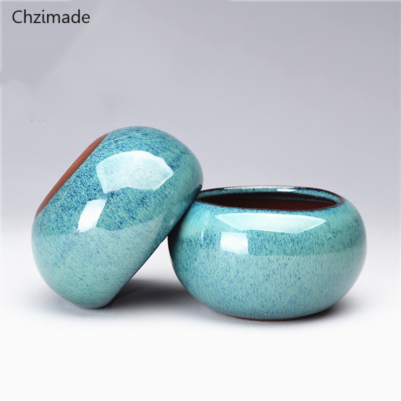 Chzimade Chinese Round Ceramics Bonsai Flower Pots For Plants Glazed Pot Planter Home Decoration