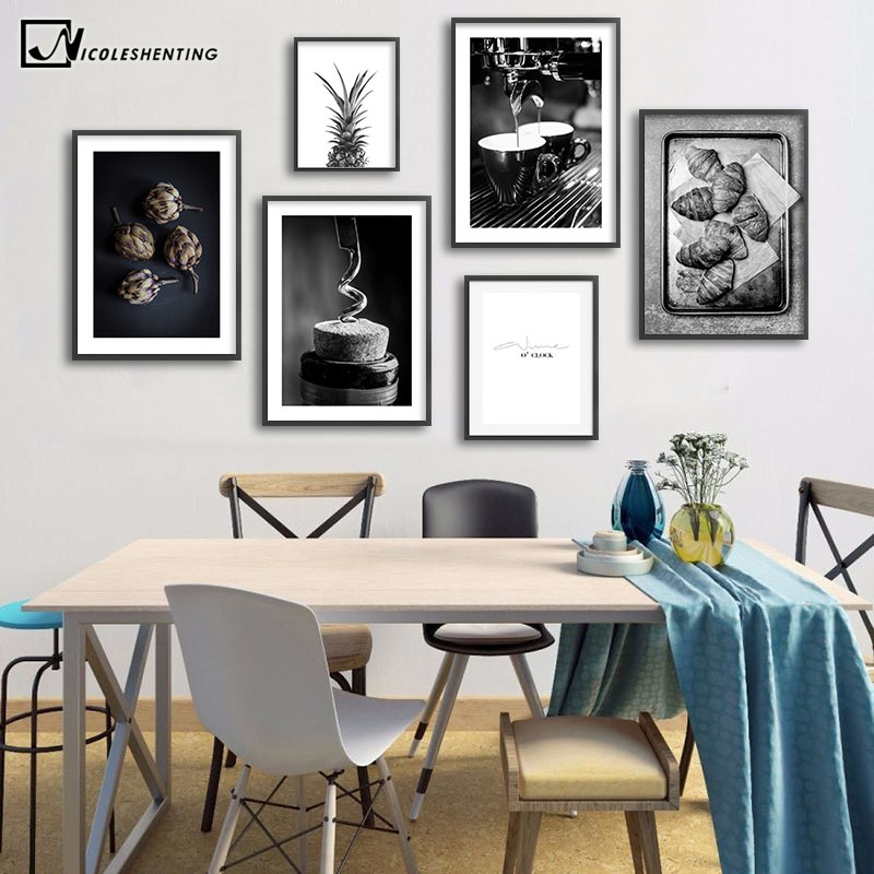 Coffee Wine Bead Poster Black White Food Drink Kitchen Wall Art Print Simple Canvas Painting Modern Picture Dining Room Decor Painting Calligraphy Aliexpress