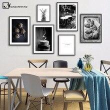 Cartel de cuenta de vino café negro blanco comida bebida Cocina pared arte impresión lienzo Simple pintura cuadro moderno comedor Decoración