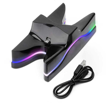 Dual Controllers Charger Stand Fast Charging Dock Station for PS4 Controller Colorful LED For Playstation 4