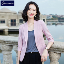 2020 spring and summer new suit women's cotton and linen small suit women's mid-sleeved slim blazer