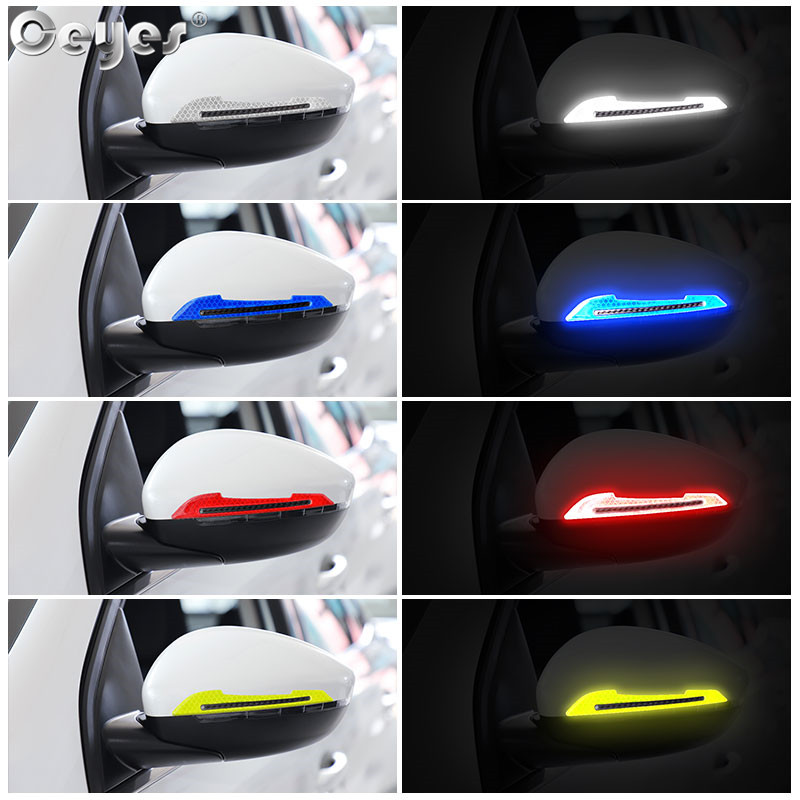 Ceyes Car Styling Reflective Stickers For Mercedes Toyota Warning Safety Mark Strip On Rearview Mirror Car Universal Accessories