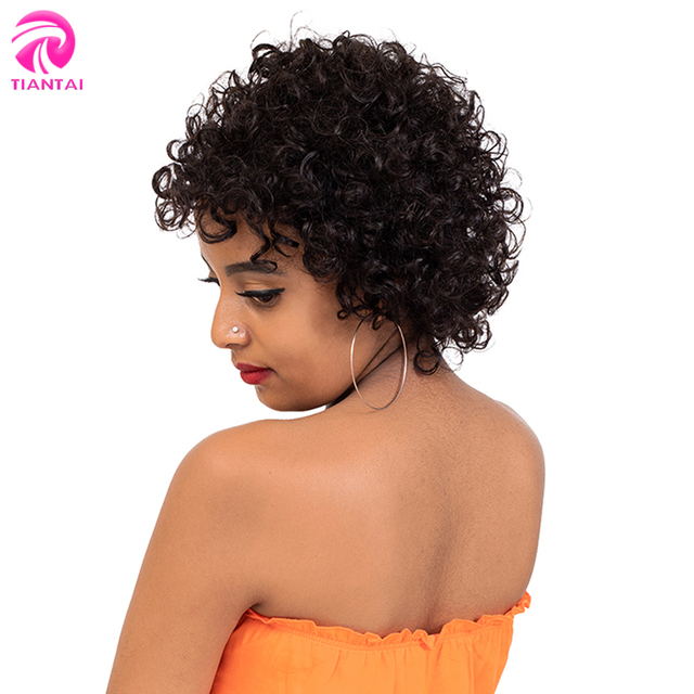 Brasiliani Brevi Parrucche Dei Capelli Umani per le Donne Nere di Colore Naturale Remy Glueless Corto Bob Parrucche Dei Capelli Umani Ricci Pixie Cut parrucche