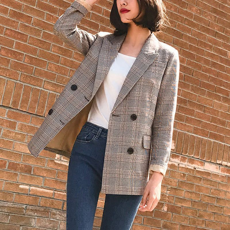 Women Blazer British Style Plaid Print Lapel Double-breasted Autumn Winter Casual Warm Coat