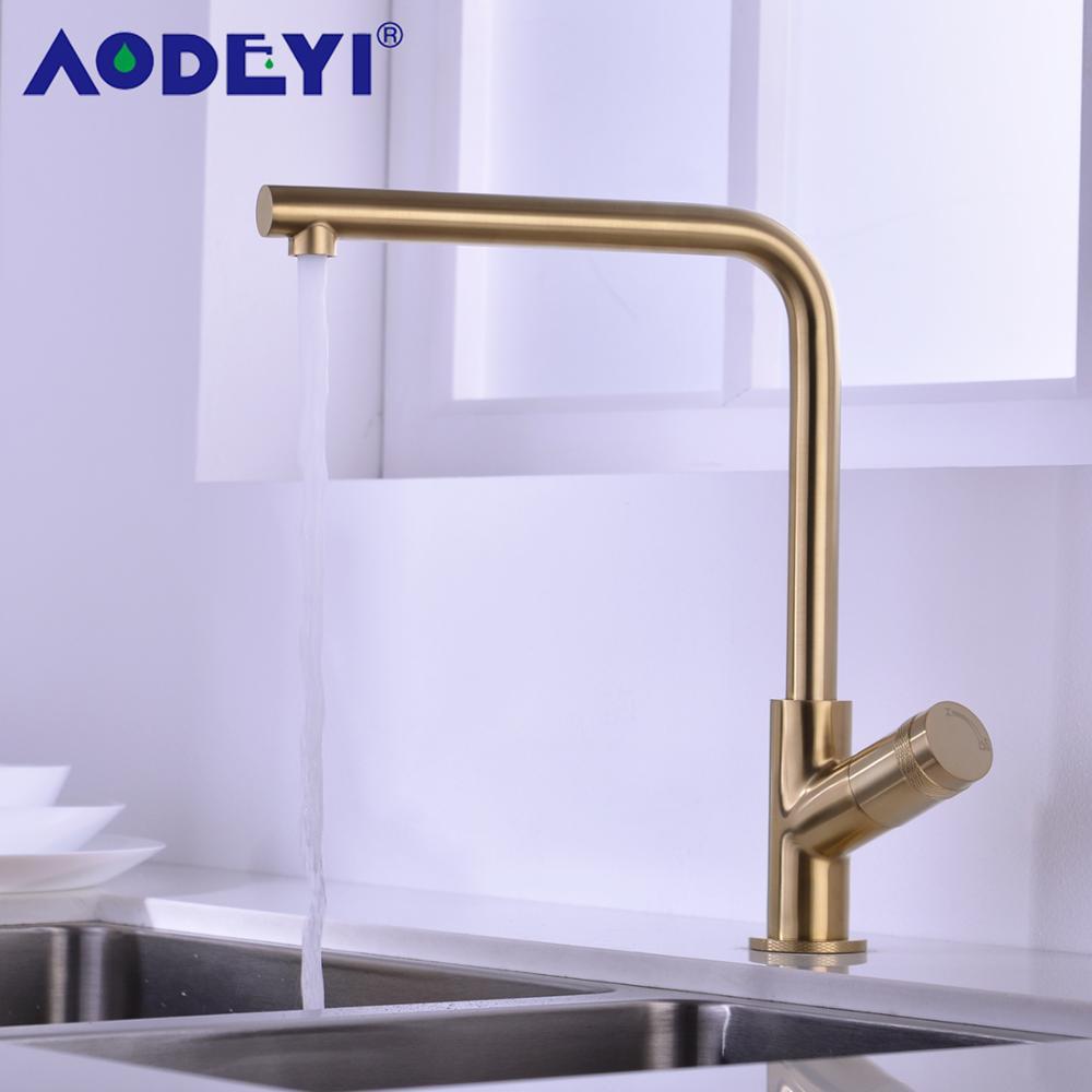 Neue Design Gebürstet Gold Küche Wasserhahn Messing Wasserhahn Einzigen Griff Mischbatterie 360 Drehung Küche Waschbecken Wasserhahn