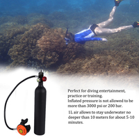 Diving Scuba 1L Oxygen Cylinder Diving Air Tanks Scuba Regulator Diving Respirator with Gauge Snorkeling Breathing Equipment