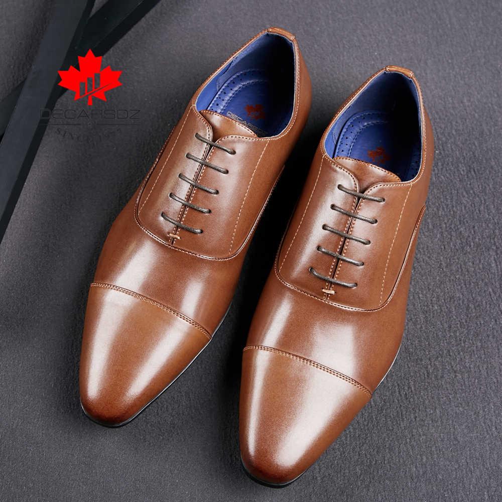 Erkek elbise ayakkabı erkekler 2020 sonbahar moda resmi ayakkabı erkek rahat deri ayakkabı ofis dantel-up yeni marka tasarlanmış erkek ayakkabıları