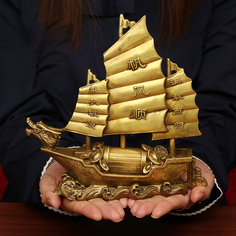 Sailing Ship Statue Feng Shui Decor For Fortune, Wealth And Prosperity - Decorative Gold Wealth Sailing Boat Décor For Office