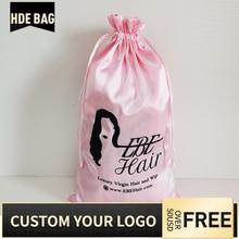 50pcs 20x30cm Pink-Color Virgin Hair Drawstring Packaging Bags Extensions Wigs B