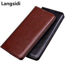 Genuine leather magnetic flip case for Vernee apollo magnetic phone bag case for Vernee apollo standing phone cover funda coque(China)