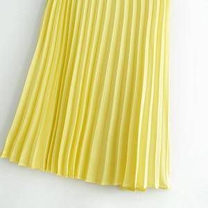 AliExpress EBay 2019 летние новые стильные женские желтые плиссированные юбки длинные в западном стиле