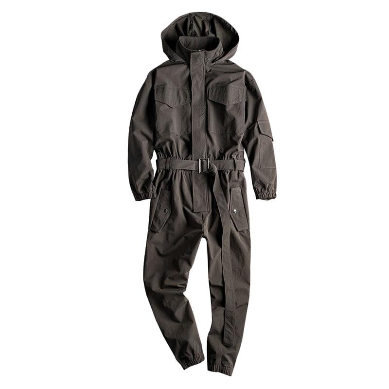 Spring Overalls Men Jumpsuit Hooded Long Sleeve Multi-Pocket Beam Feet Streetwear Clothing Japanese Pants Hip Hop Black Trousers