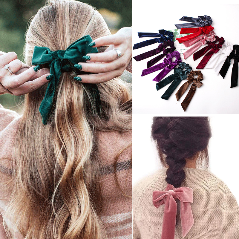 Ribbon/Velvet Women Hair Accessories Headdress Elastic Hair Bands Rope Tie Gum Ponytail Holder Girls Scrunchie Rubber Bands