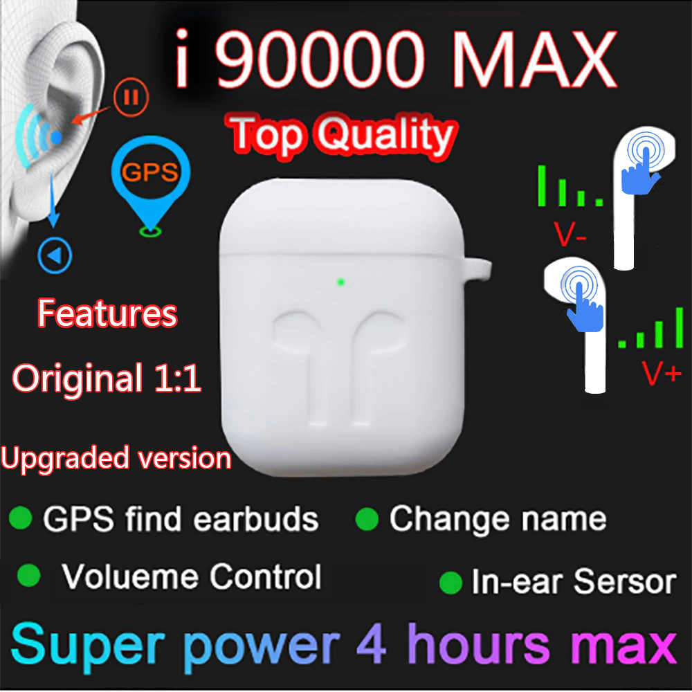 I90000 MAX TWS Wireless Earphone with Air 2 Rename Bluetooth 5 0 Earphones Super Bass Earphones PK Volume Control  i90000 ProTWS